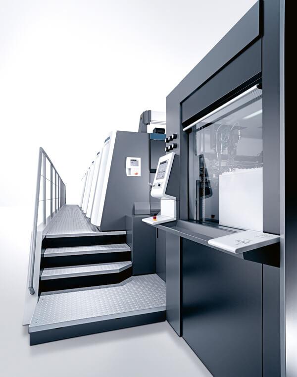Seitliche Ansicht der Druckmaschine Heidelberg XL106-5+LX